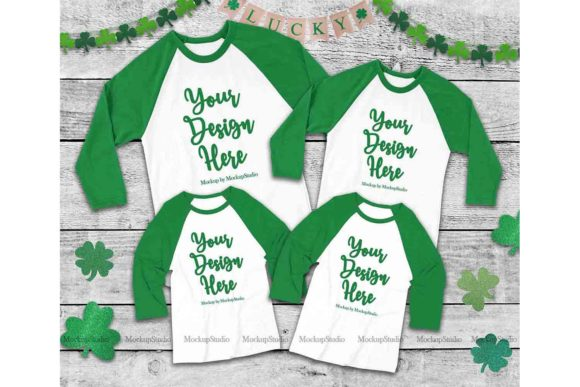 Print on Demand: Matching Family St Patrick's Raglan Mock Graphic Product Mockups By Mockup Station