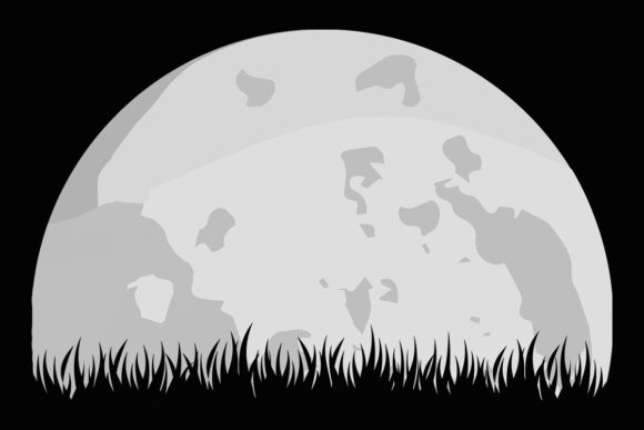 Print on Demand: Moon Grass Full Grey Moon Lunar Clipart Graphic Illustrations By SunandMoon