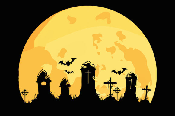 Download Free Moon Graveyard Halloween Scary Clipart Graphic By Sunandmoon for Cricut Explore, Silhouette and other cutting machines.
