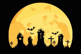 Print on Demand: Moon Graveyard Halloween Scary Clipart Graphic Illustrations By SunandMoon