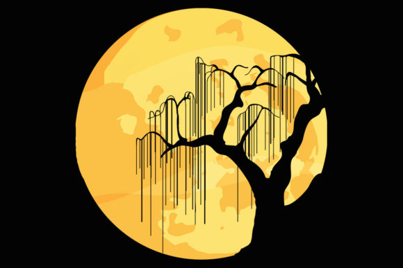 Download Free Moon Halloween Willow Tree Clipart Graphic By Sunandmoon for Cricut Explore, Silhouette and other cutting machines.