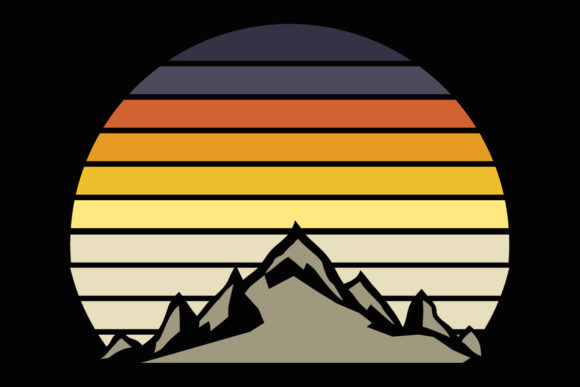 Print on Demand: Mountain Retro Vintage Sunset Clipart Graphic Illustrations By SunandMoon