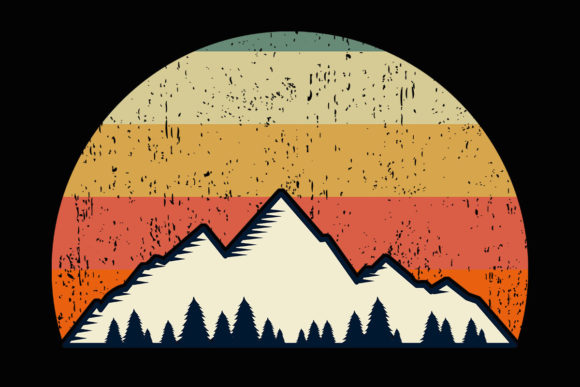 Print on Demand: Mountain Trees Retro Sunset Clipart Graphic Illustrations By SunandMoon