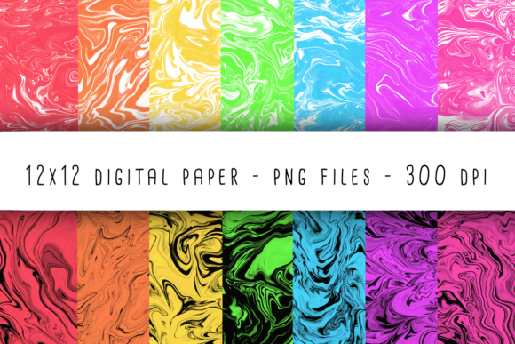Print on Demand: Neon Marble Digital Paper Graphic Backgrounds By RoughDraftDesign