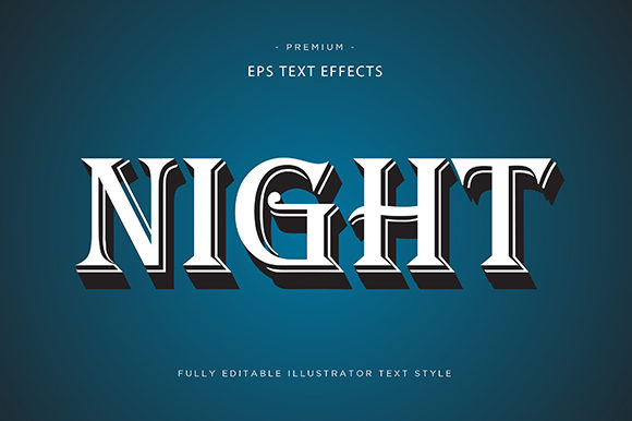 Print on Demand: Night 3d Text Effect Vector Graphic Graphic Templates By Riduwan Molla
