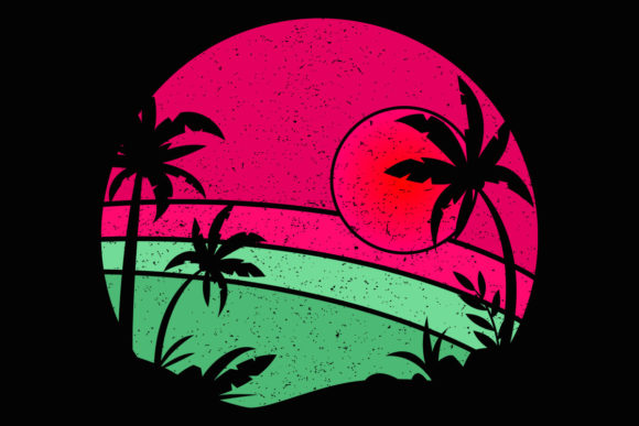 Print on Demand: Palm Trees Beach Retro Sunset Pink Green Graphic Illustrations By SunandMoon