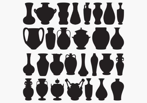 Pottery-Vase Silhouettes Graphic Crafts By octopusgraphic