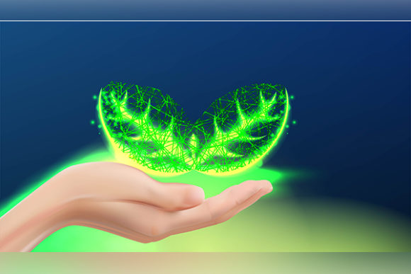 Print on Demand: Realistic Hand Care Holding Seed / Leaf Graphic Backgrounds By ojosujono96