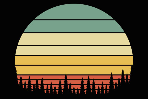 Print on Demand: Retro Forest Sunset Evergreen Clipart Graphic Illustrations By SunandMoon - Image 1