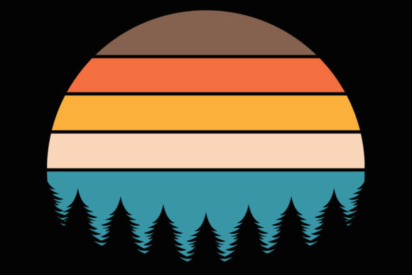 Print on Demand: Retro Vintage Sunset Evergreen Clipart Graphic Illustrations By SunandMoon