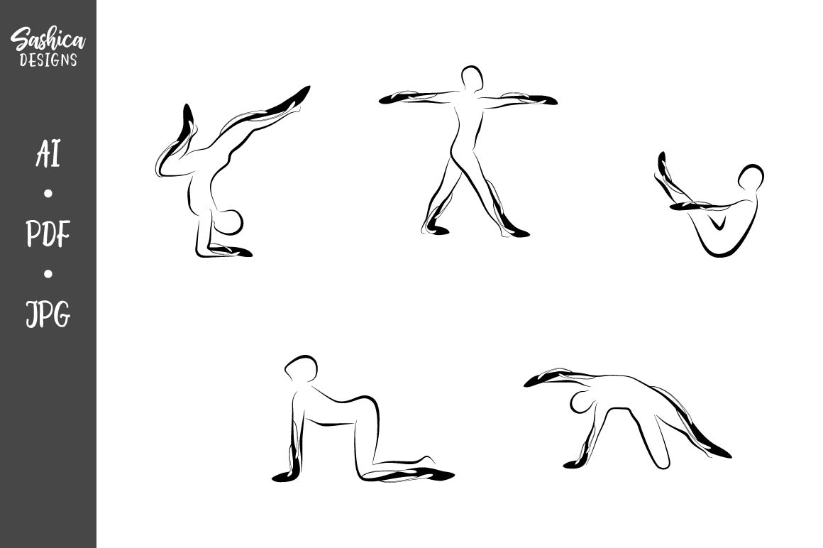Set of Abstract Yoga Poses (Graphic) by sashica designs ...