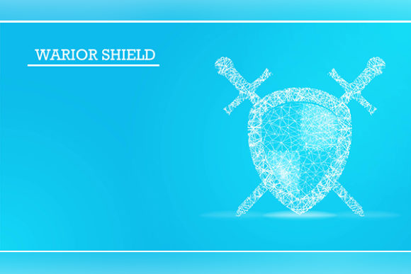 Print on Demand: Shield and Swords Isolated on Blue Backg Graphic Backgrounds By ojosujono96