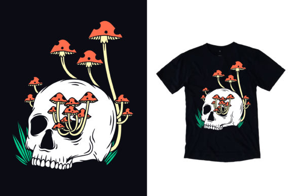 Skull With Mushroom Graphic By Yazriltri Creative Fabrica
