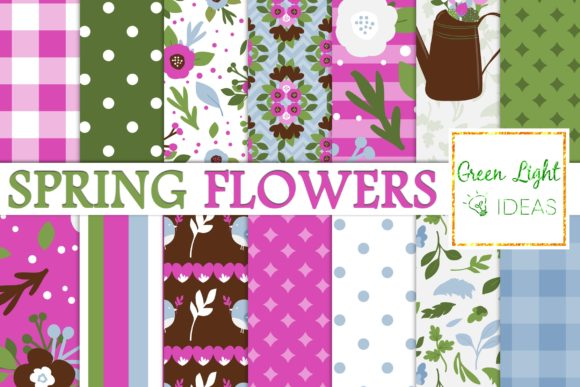 Download Free Spring Garden Flowers Digital Papers Graphic By Greenlightideas for Cricut Explore, Silhouette and other cutting machines.