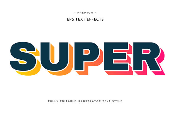 Print on Demand: Super 3d Text Effect Vector Graphic Graphic Templates By Riduwan Molla