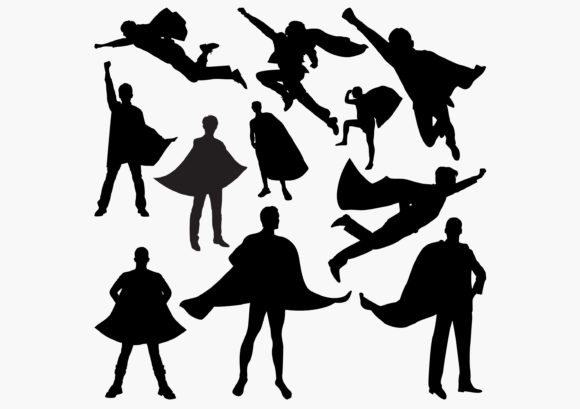 Superhero Silhouettes Graphic Crafts By octopusgraphic