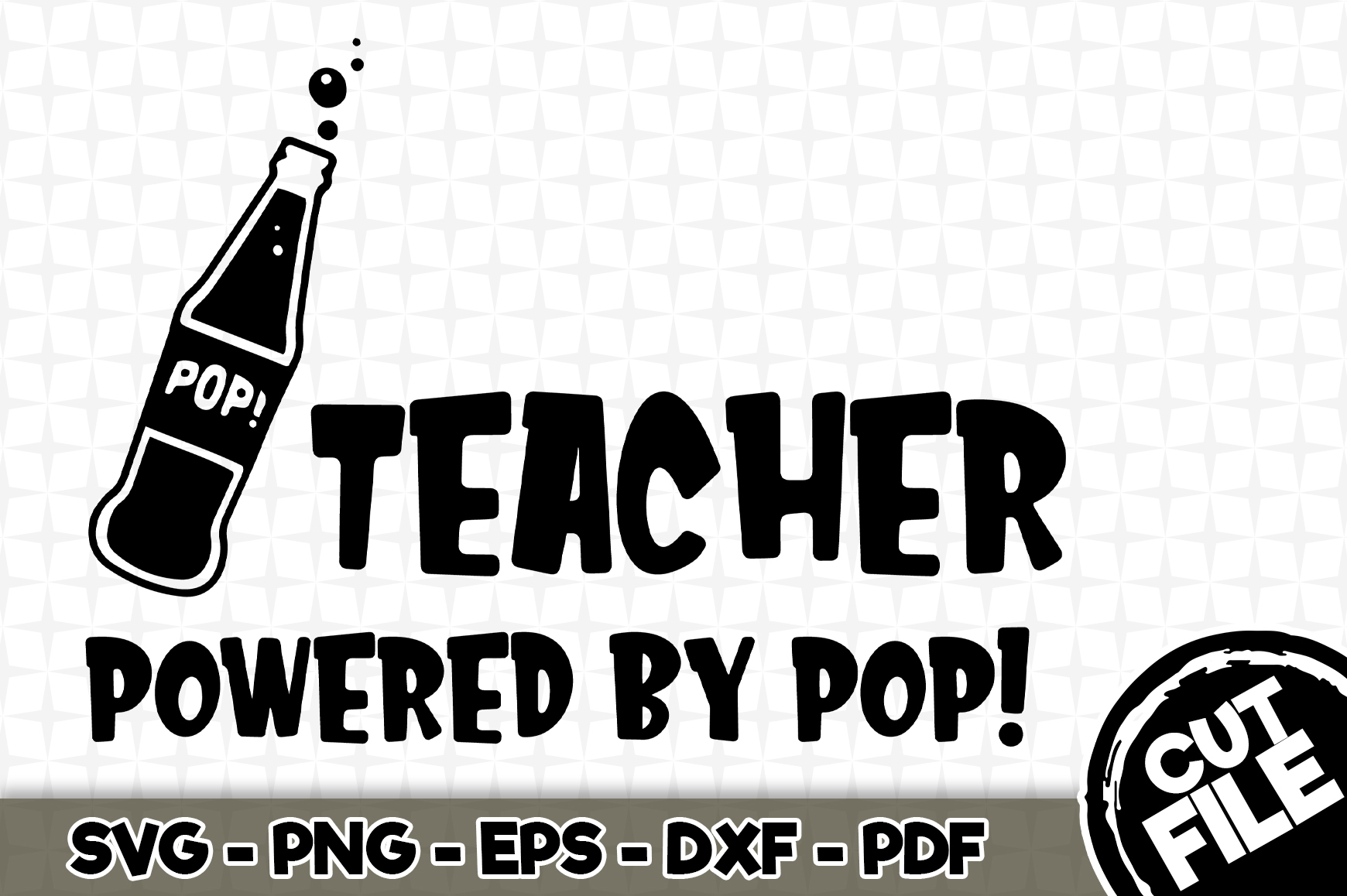 Download Free Teacher Powered By Pop Graphic By Robosvgs Creative Fabrica for Cricut Explore, Silhouette and other cutting machines.