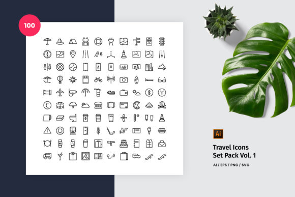 Travel 100 Set Icon Pack Vol. 1 Graphic Icons By StringLabs