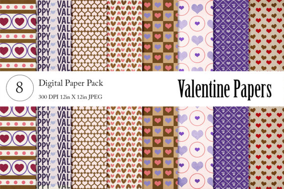 Print on Demand: Valentine Digital Papers Graphic Backgrounds By Becky's Creations