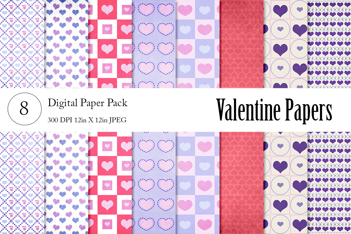 Download Free Valentine Digital Papers Graphic By Becky S Creations Creative for Cricut Explore, Silhouette and other cutting machines.