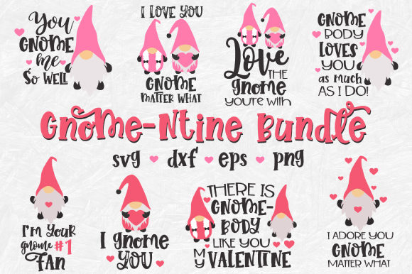 Download Free Valentine Gnome Bundle Graphic By Craft Pixel Perfect Creative for Cricut Explore, Silhouette and other cutting machines.