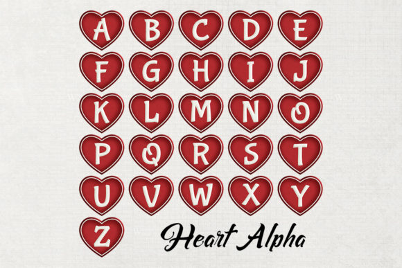 Print on Demand: Valentine Heart Alpha Graphic Crafts By Becky's Creations