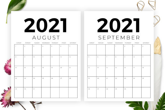 Vertical 8.5 X 11 Inch 2021 Calendar Graphic Preview