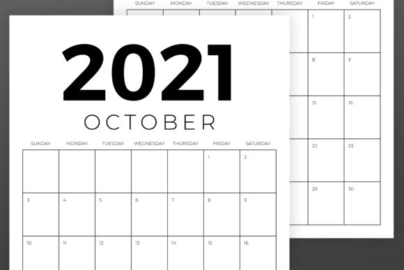 Vertical 8.5 X 11 Inch 2021 Calendar Graphic Image