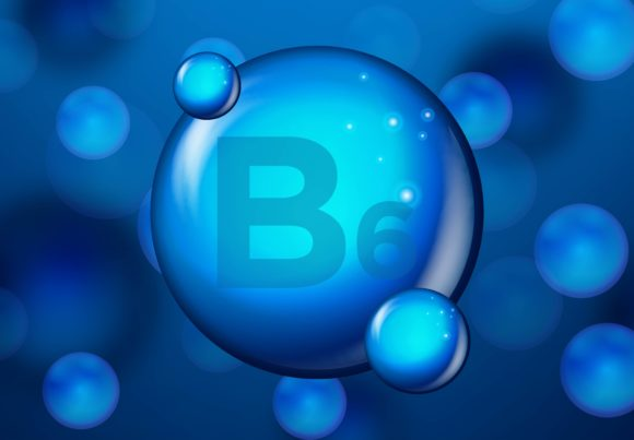 Print on Demand: Vitamin B6 Blue Shining Pill Capsule Ico Graphic Backgrounds By ojosujono96