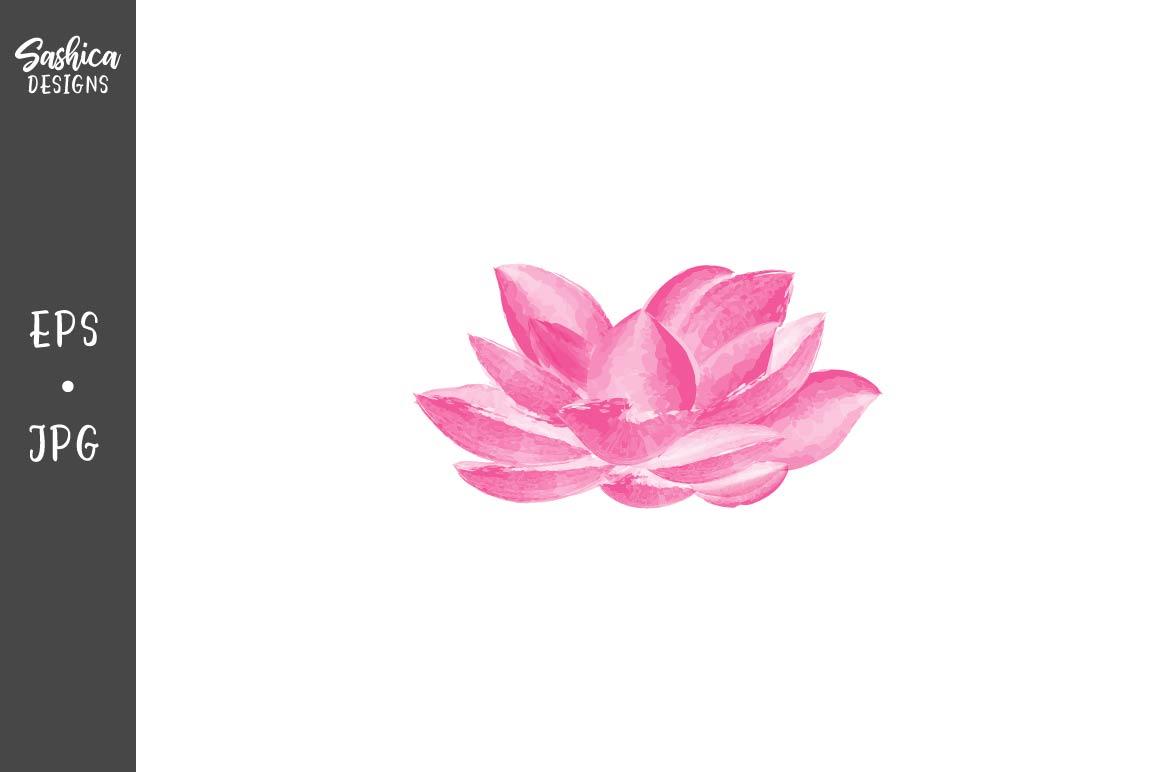 Download Free Watercolor Lotus Flower Vector Graphic By Sashica Designs Creative Fabrica for Cricut Explore, Silhouette and other cutting machines.