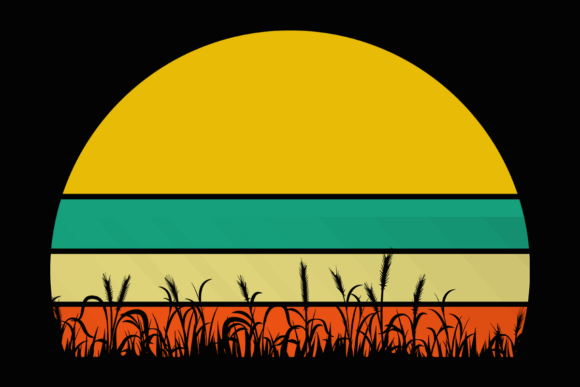 Print on Demand: Wheat Grass Retro Vintage Sunset Clipart Graphic Illustrations By SunandMoon