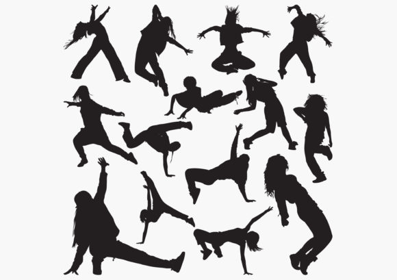 Women-street-dance Silhouettes Graphic Crafts By octopusgraphic