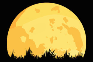 Print on Demand: Yellow Full Moon Grass Cut out Clipart Graphic Illustrations By SunandMoon