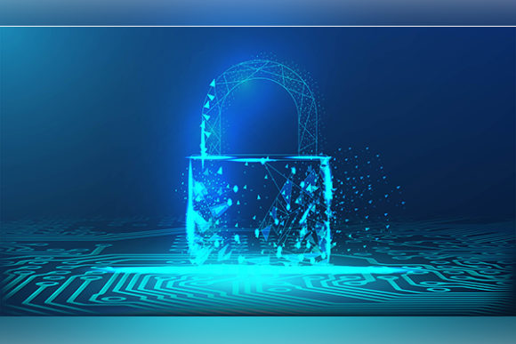 Print on Demand: Lock,padlock Security Concept on Circuit Graphic Backgrounds By ojosujono96