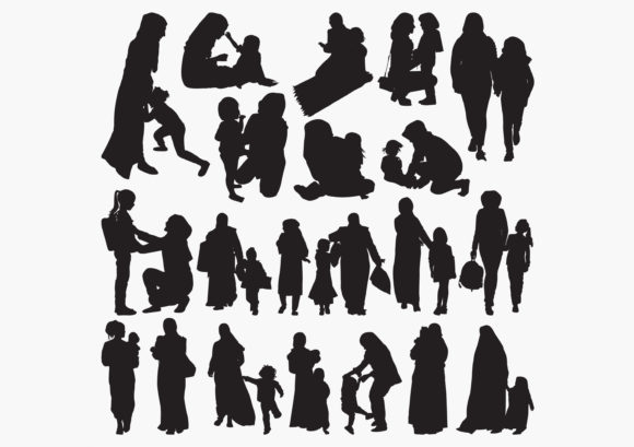 Download Free Muslim Mother And Child Silhouettes Graphic By Octopusgraphic for Cricut Explore, Silhouette and other cutting machines.