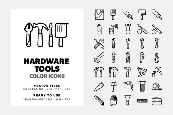 Download Free 35 Hardware Tools Line Icons Set Graphic By Borisfarias for Cricut Explore, Silhouette and other cutting machines.