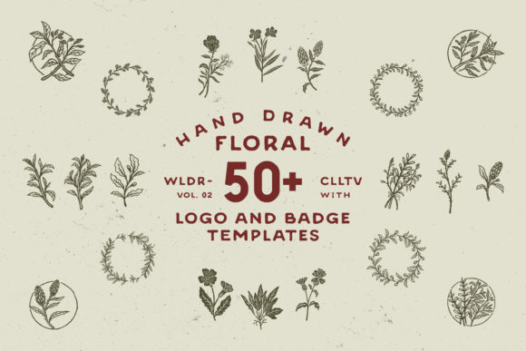 50 Hand Drawn Floral Logo & Badges Graphic Logos By tacikworks