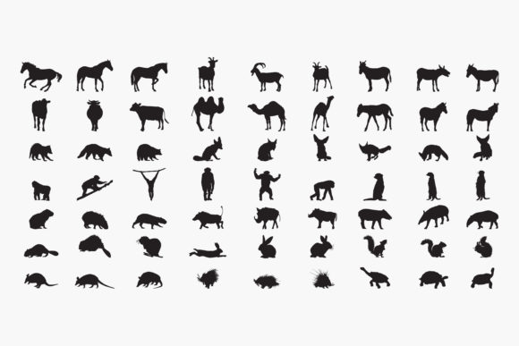 Animal-set Silhouettes Graphic Crafts By octopusgraphic