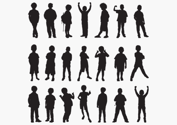 Download Free Boy Silhouettes Graphic By Octopusgraphic Creative Fabrica for Cricut Explore, Silhouette and other cutting machines.