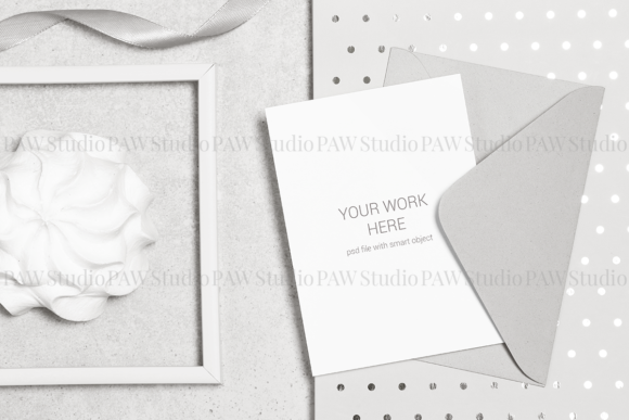 Download Free Card Mockup Envelope Flower Holiday Wedd Graphic By Pawmockup Creative Fabrica for Cricut Explore, Silhouette and other cutting machines.