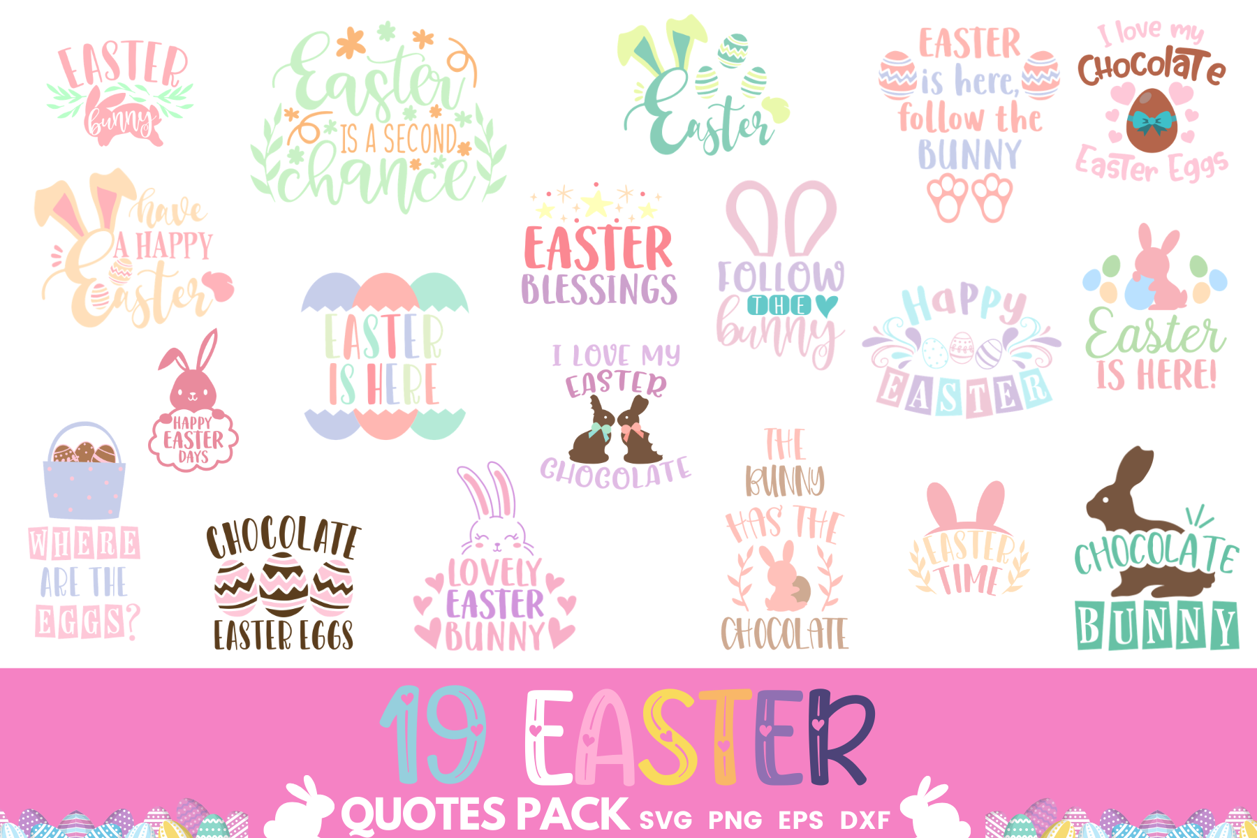 Download Free 19 Easter Quotes Pack Graphic By Graphipedia Creative Fabrica for Cricut Explore, Silhouette and other cutting machines.