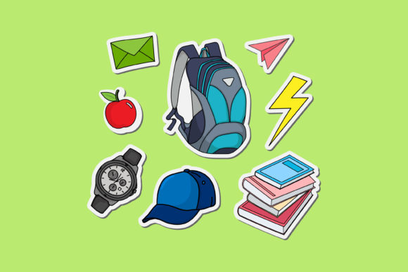 Print on Demand: Illustration of Stickers for School Boys Graphic Illustrations By sabavector
