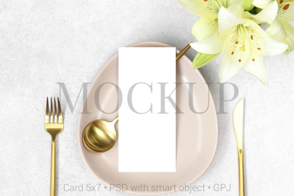 Print on Demand: Mockup Wedding Menu with Gold Cutlery Graphic Product Mockups By PawMockup