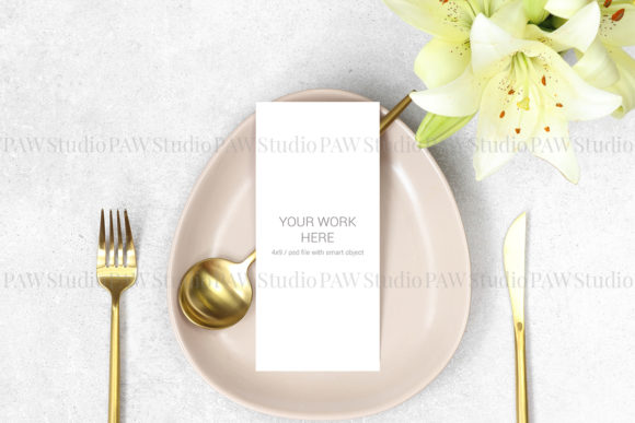 Download Free Mockup Wedding Menu With Gold Cutlery Graphic By Pawmockup for Cricut Explore, Silhouette and other cutting machines.