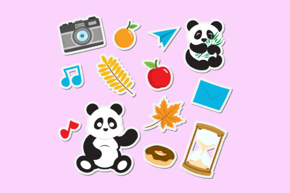 Print on Demand: Cute Panda Stickers for Kids Graphic Illustrations By sabavector
