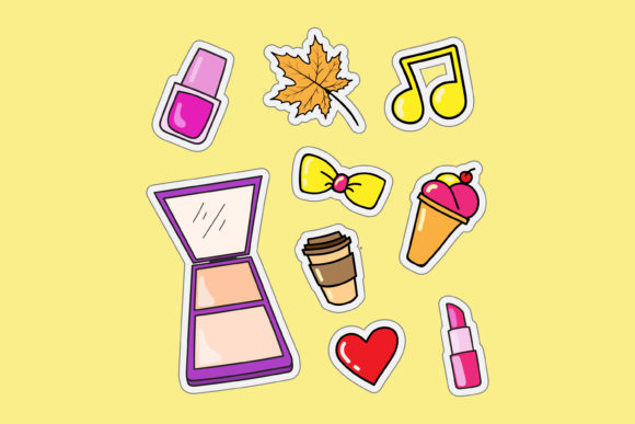 Print on Demand: Fashion Stickers and Food Graphic Illustrations By sabavector