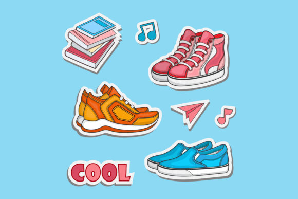 Print on Demand: Shoe Sticker Vector Design Graphic Crafts By sabavector