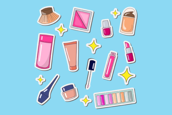 Print on Demand: Vector Design Makeup Tools and Makeup Graphic Illustrations By sabavector