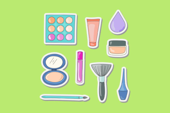 Print on Demand: Vector Design of Makeup Tools Graphic Illustrations By sabavector