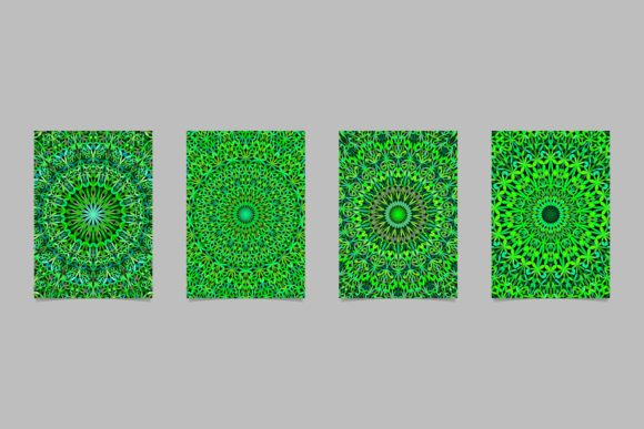 4 Green Floral Mandala Page Backgrounds Graphic Print Templates By davidzydd